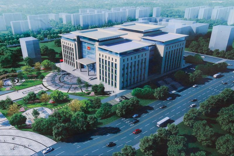马踏洞新区市政务服务综合大楼主体建设过半